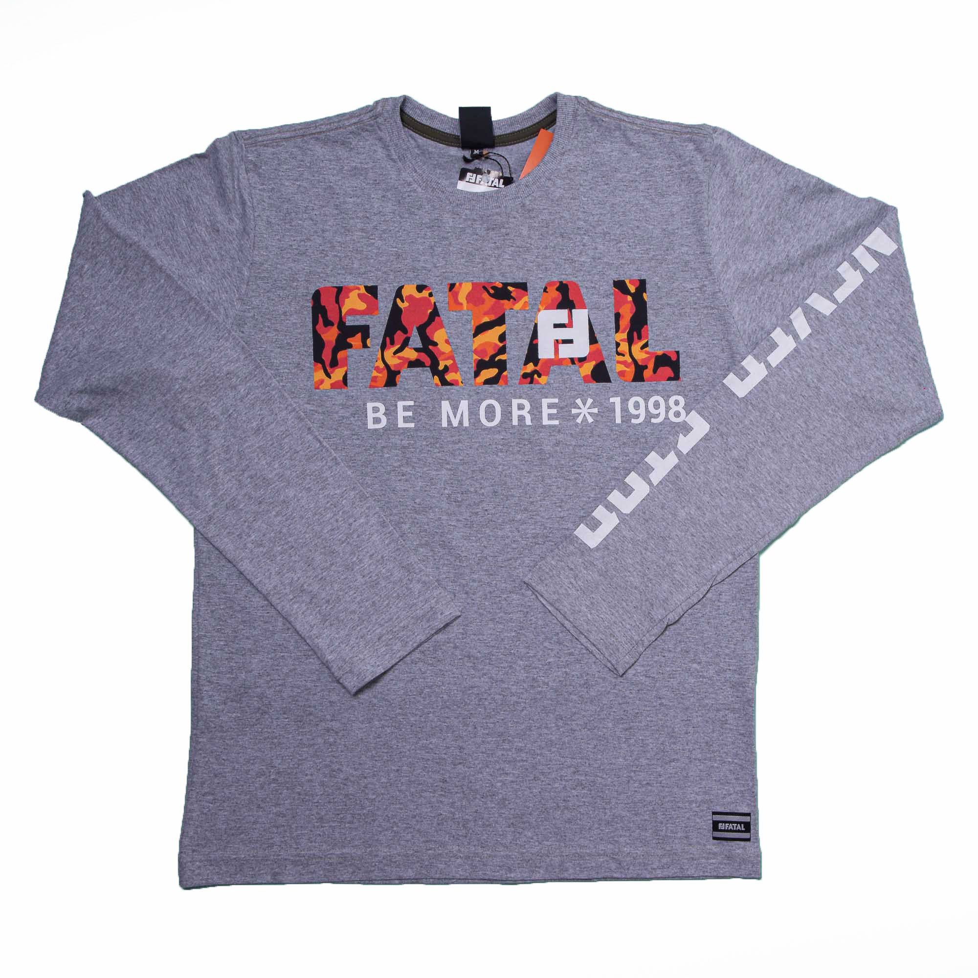 Camiseta Manga Longa Cinza Claro Estampa da Fatal
