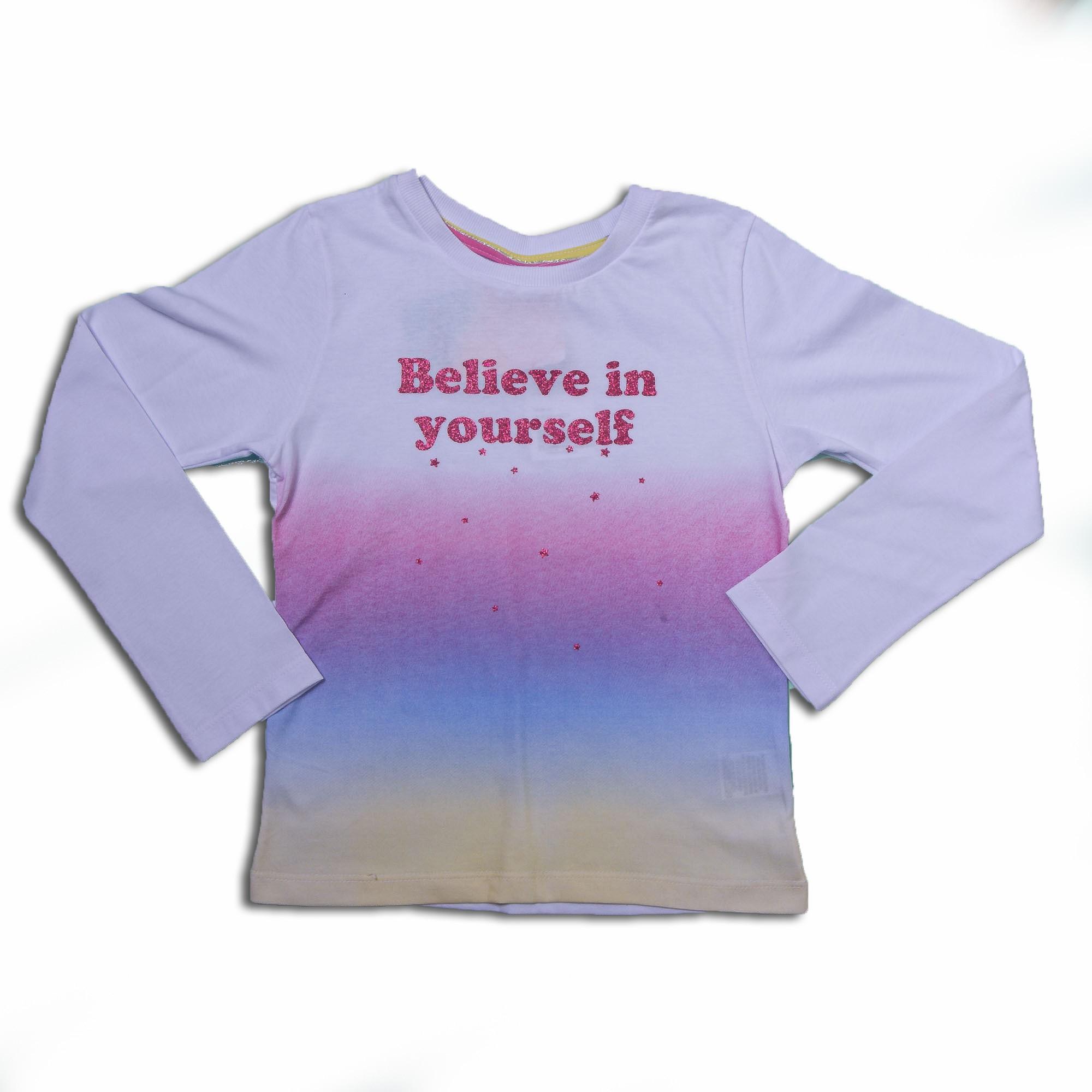 Camiseta Manga Longa Colorida Estampada Juvenil Menina Fakini