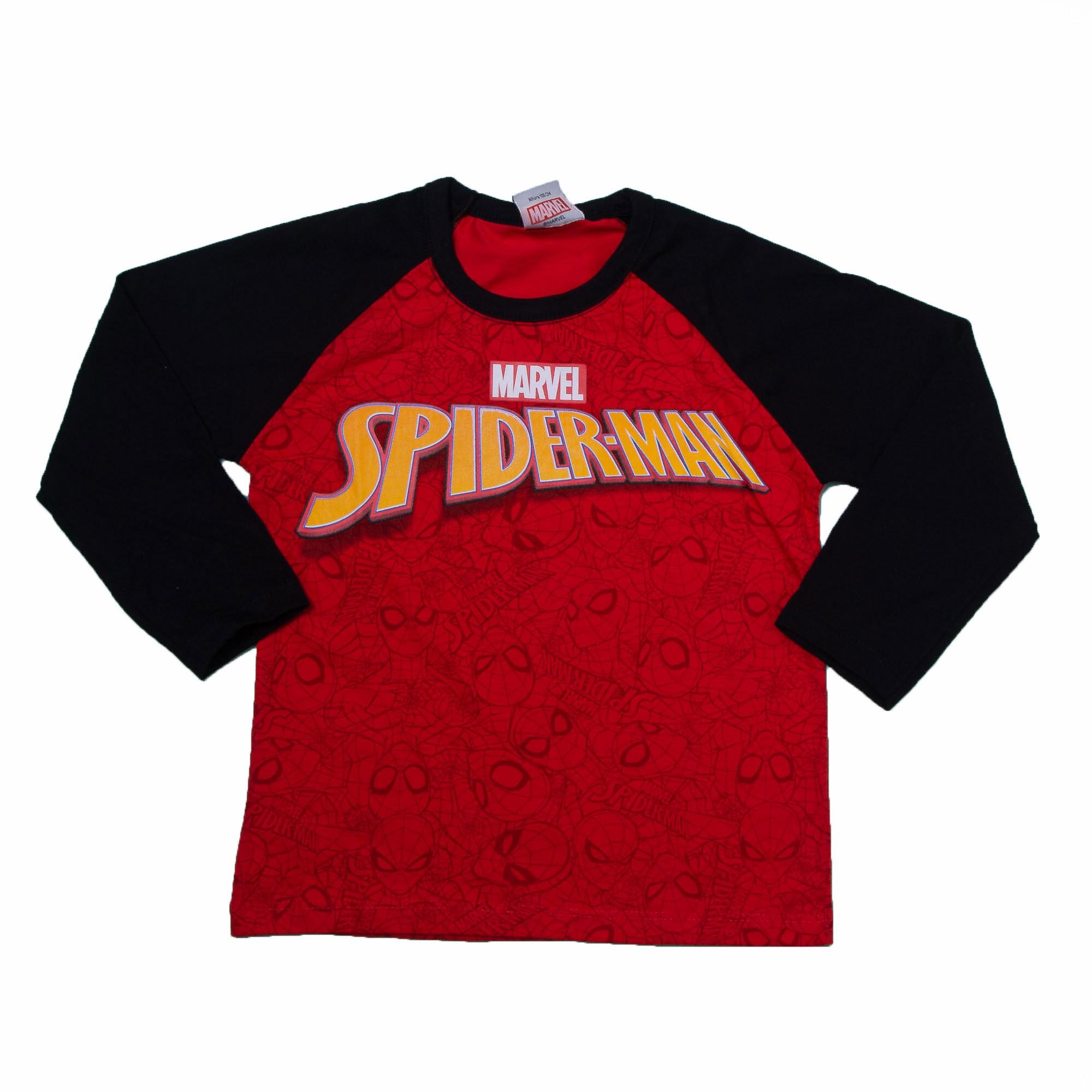 Camiseta Manga Longa Estampada Spider Man Fakini