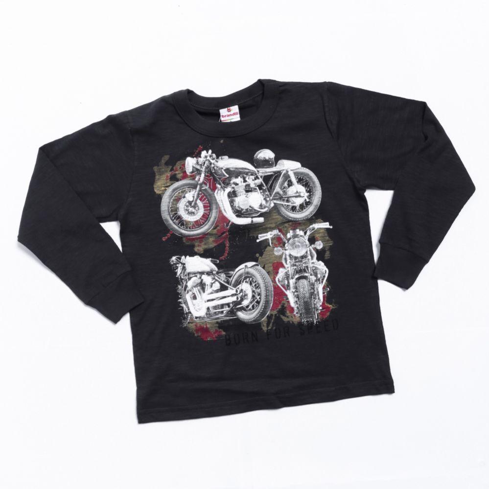 Camiseta Manga Longa Infantil Preto - Brandili