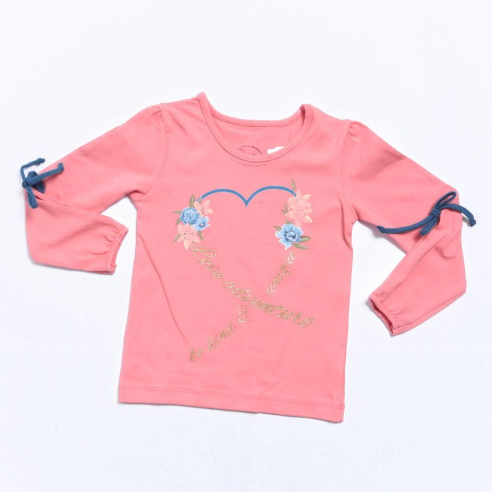Camiseta Manga Longa Infantil Menina Detalhe Delicado - Mundi
