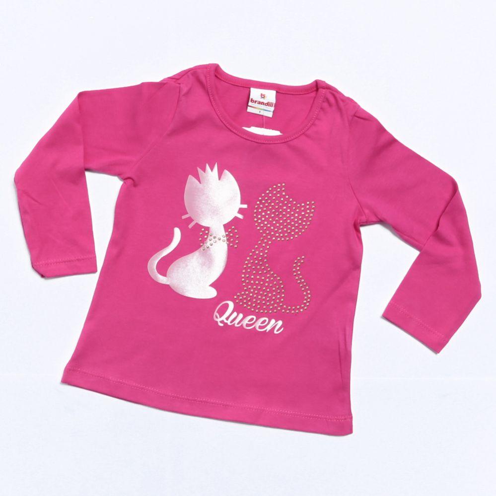 Camiseta Manga Longa Infantil Menina Rosa - Brandili