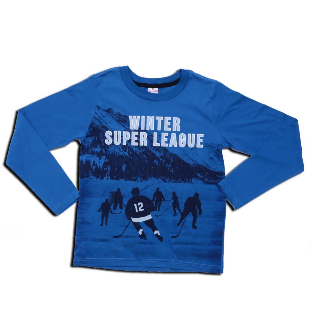 Camiseta Manga Longa Juvenil Menino Azul - Brandili