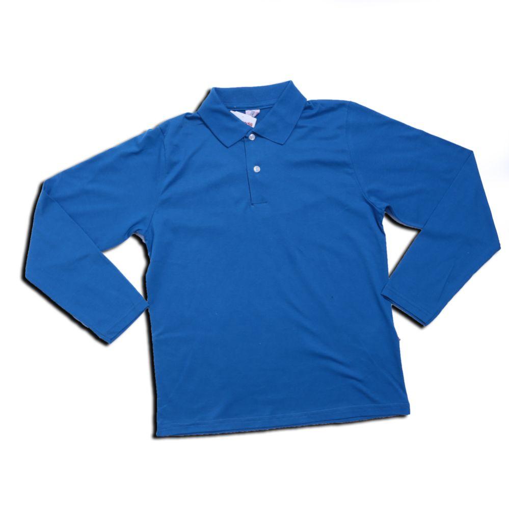 Camiseta Juvenil Manga Longa Polo Azul - Brandili