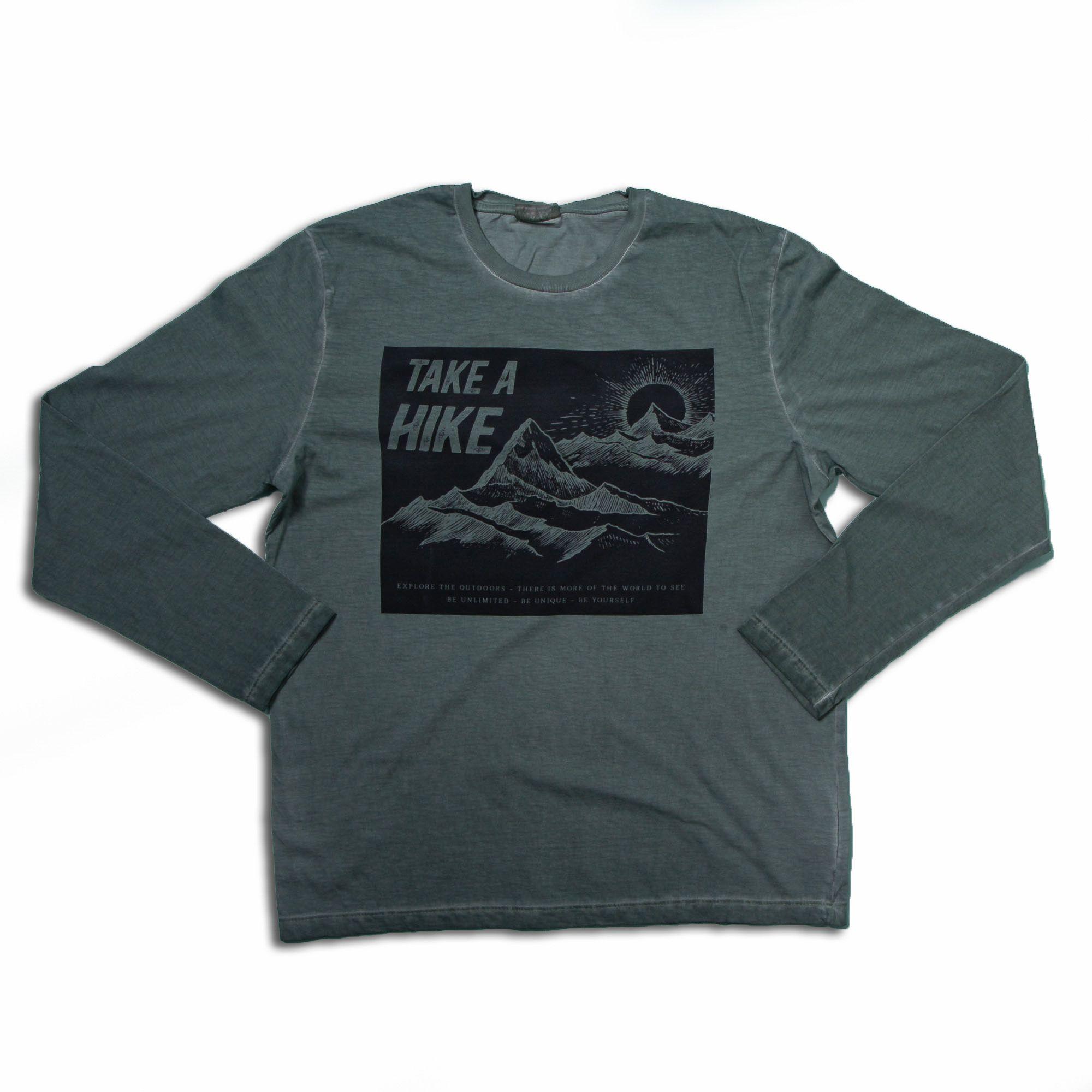 Camiseta Manga Longa Verde Oliva Estampado Juvenil Menino Fakini