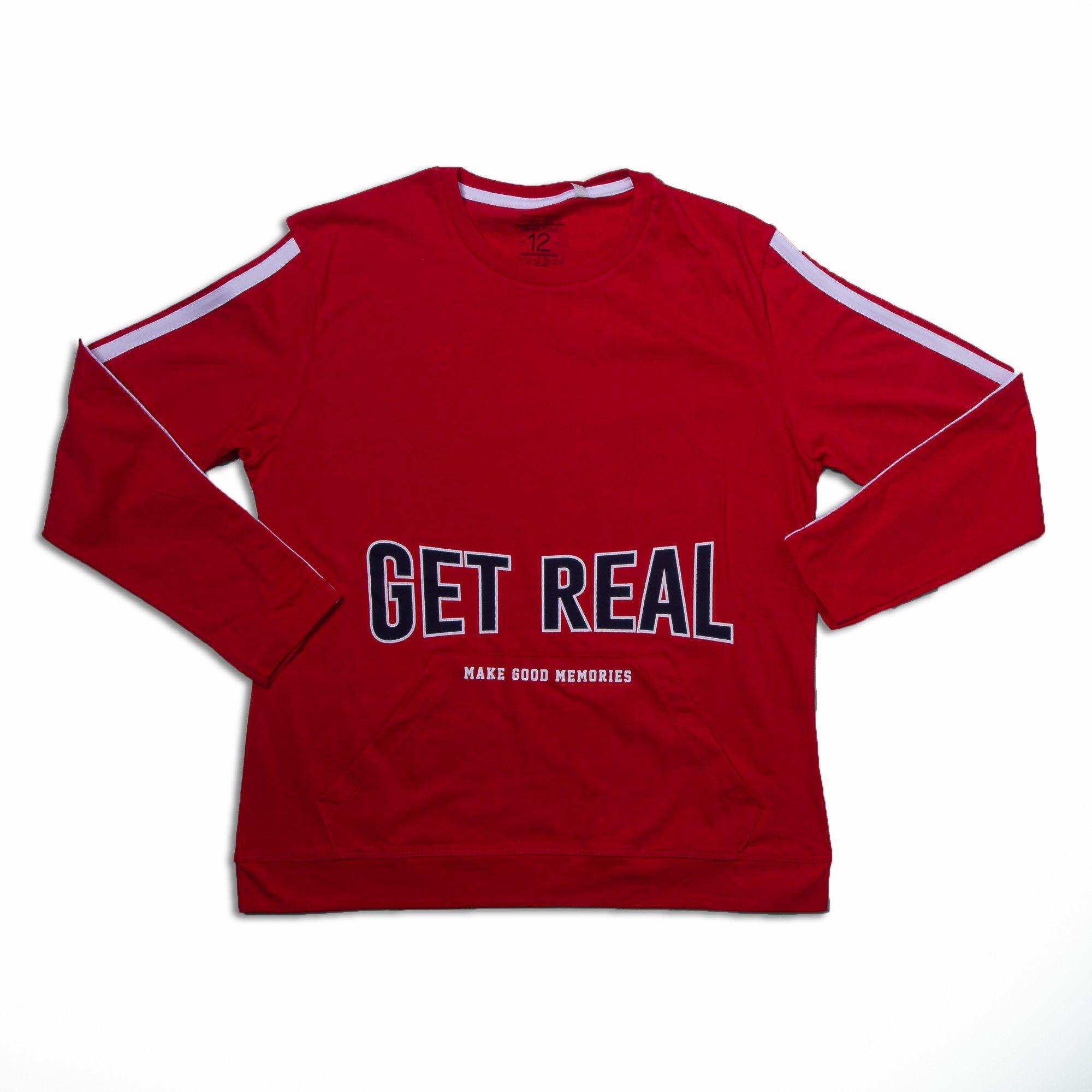 Camiseta Manga Longa Vermelha Com Detalhe Branco Juvenil Menino Fakini
