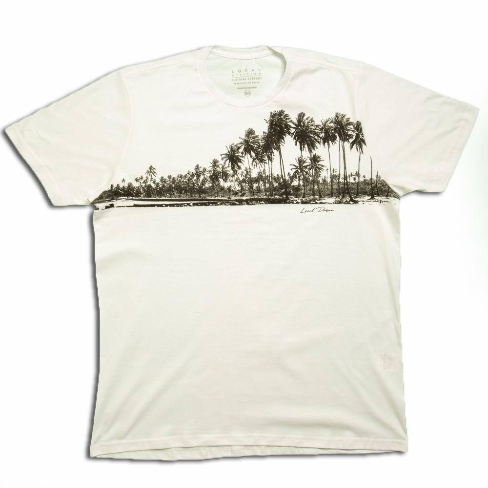 Camiseta Masculina Algodão Branca Estampada - Local