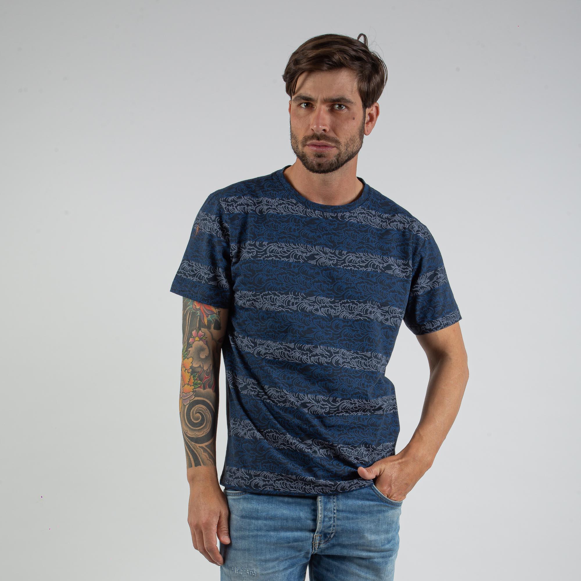 Camiseta Masculina Azul Com Estampa