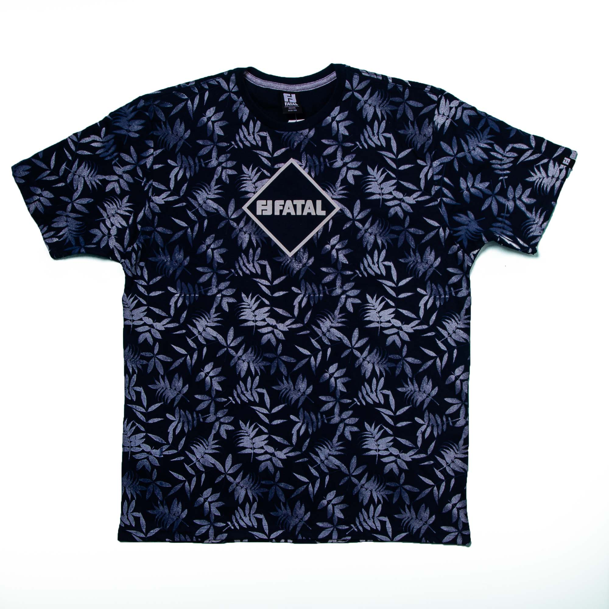 Camiseta Masculina Azul Escuro Floral - Fatal