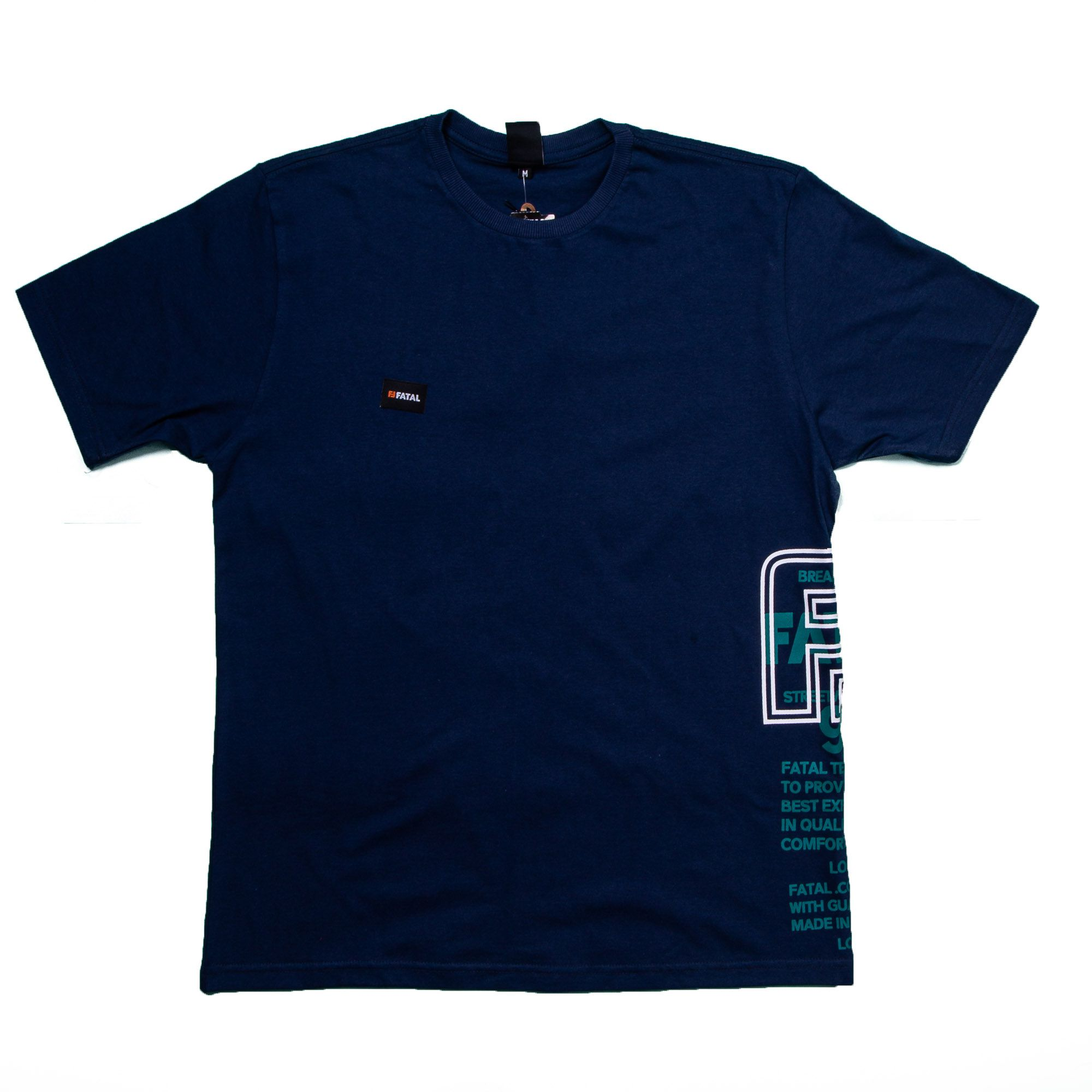 Camiseta Masculina Azul Marinho Estampada - Fatal