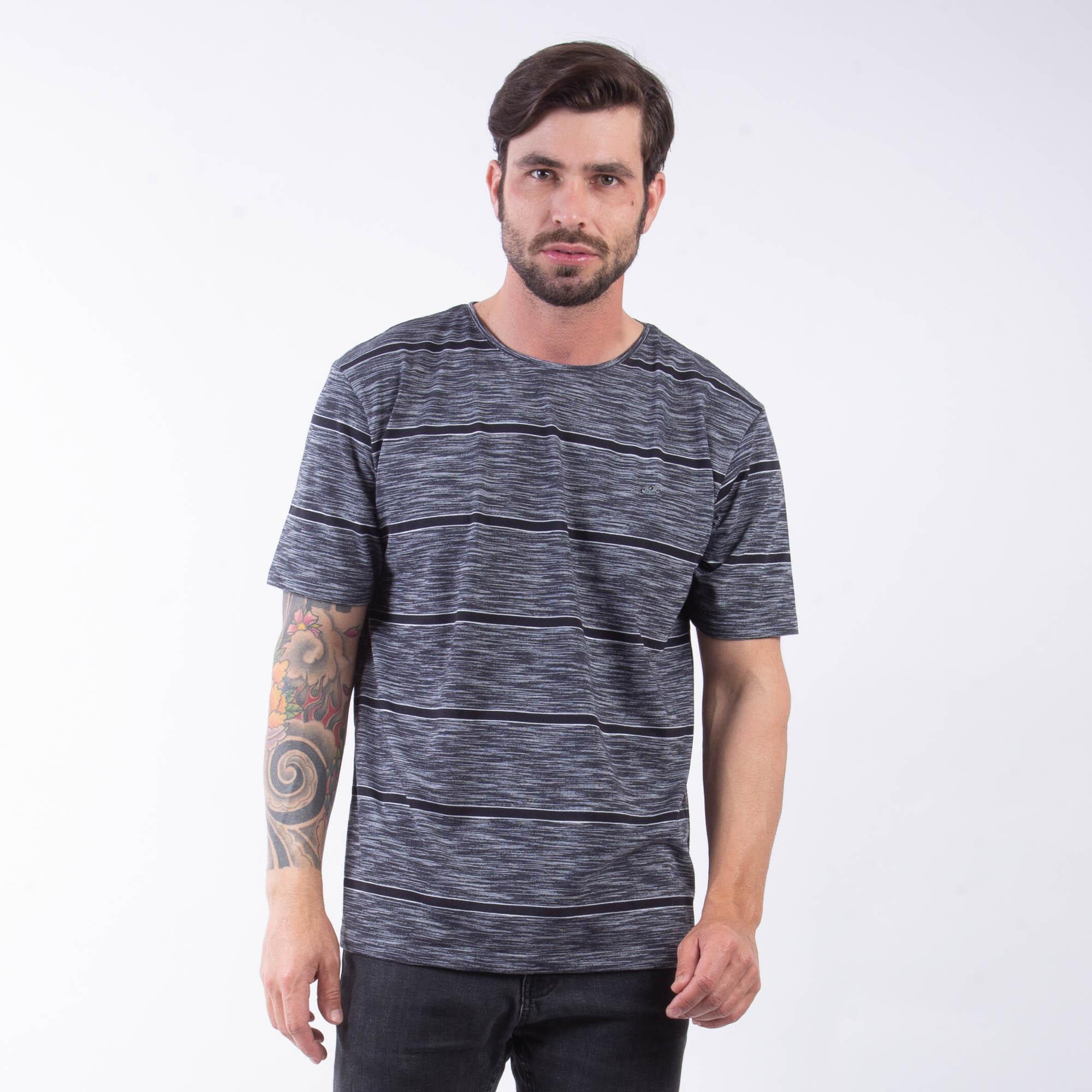 Camiseta Masculina Cinza E Preta