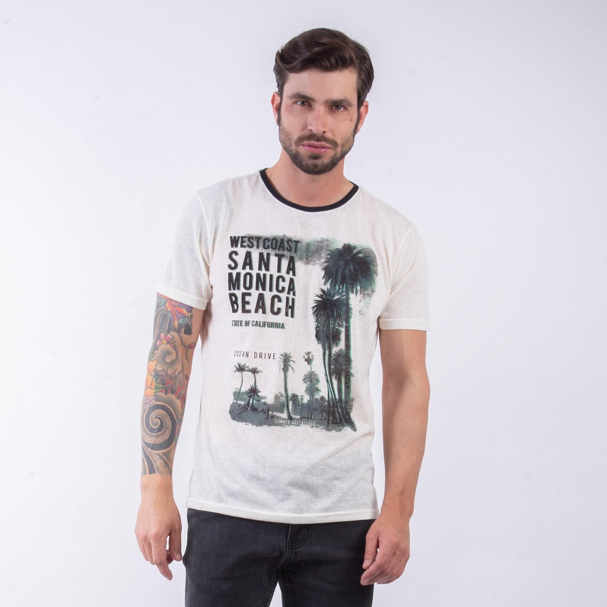 Camiseta Masculina Creme Estampa Coqueiro