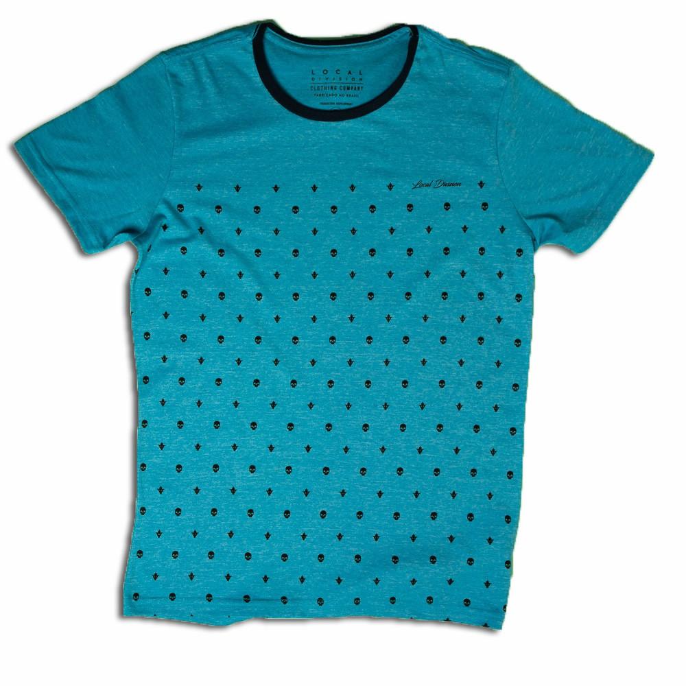 Camiseta Masculina Estampa Caveira Azul - Local