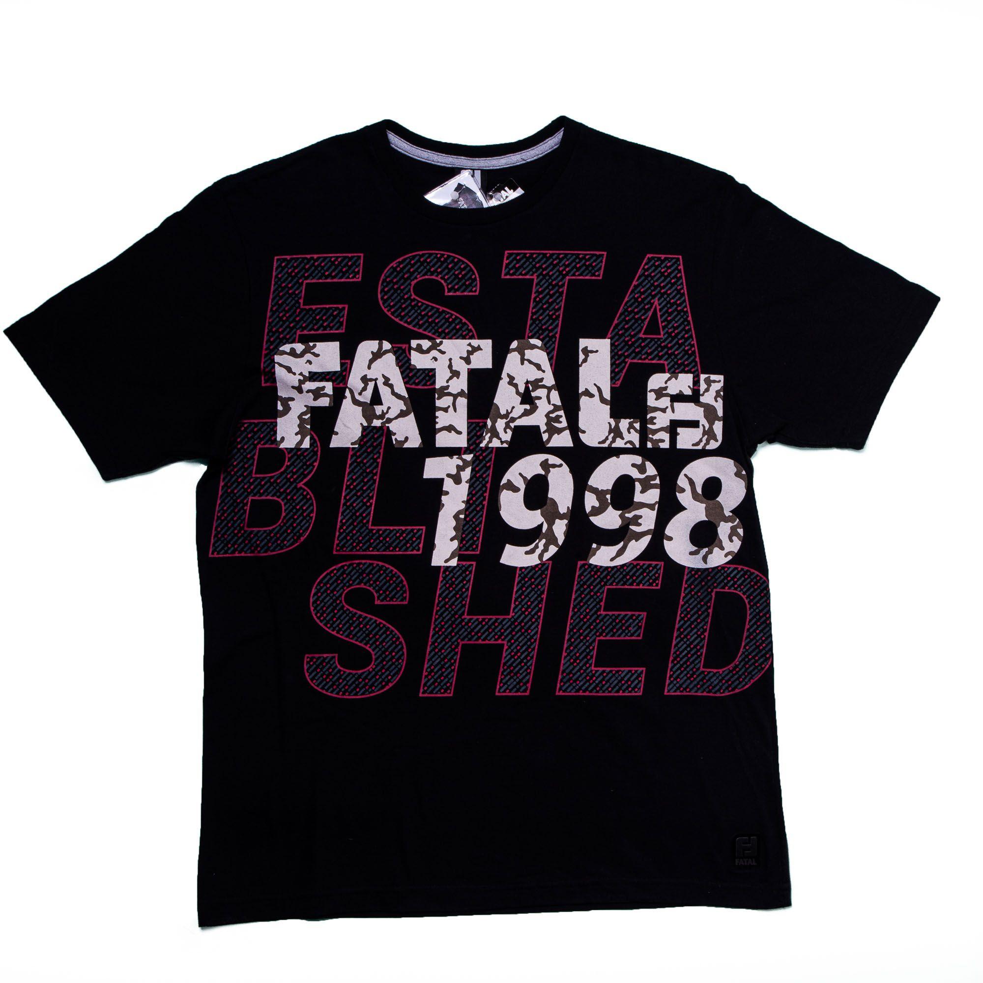 Camiseta Masculina Manga Curta Estampa Total Efeito Camurça - Fatal