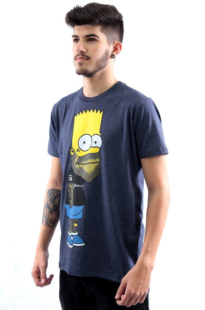 12967c276 Camiseta Manga Curta Estampa Bart Simpson Metal Arquitetura da Moda  Masculino