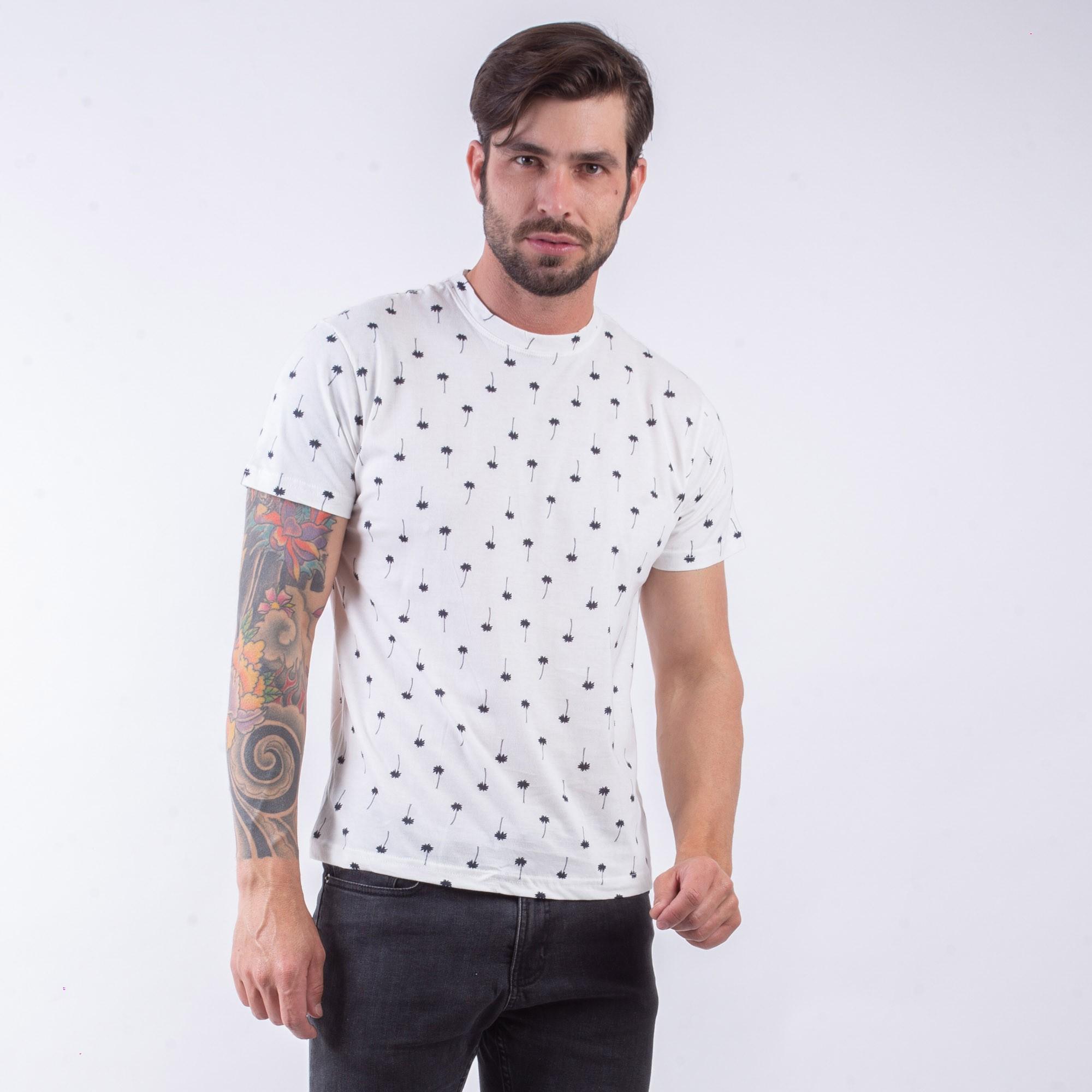 Camiseta Masculina Off White Com Estampa De Coqueiro