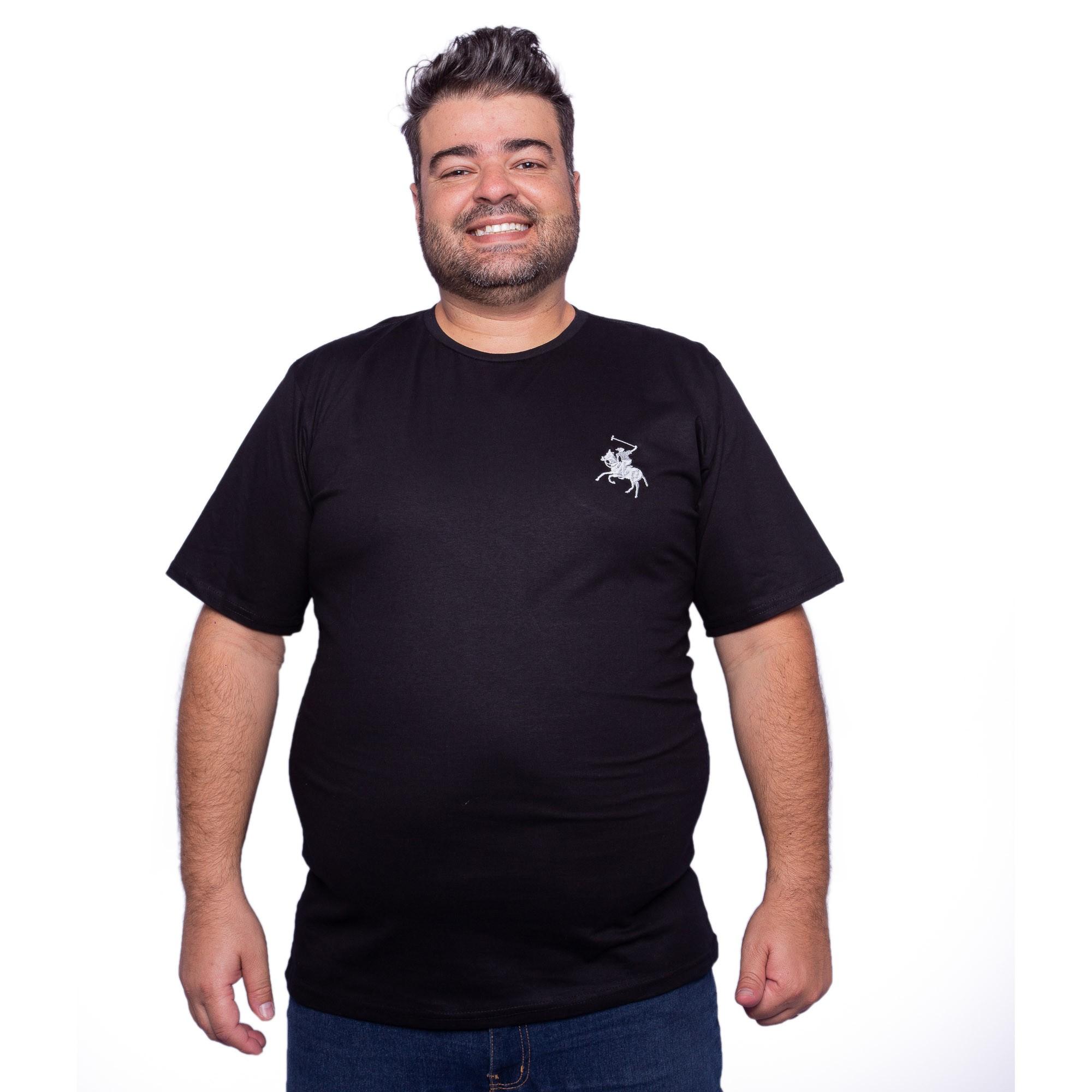 Camiseta Masculina Plus Size Com Bordado Cavalo