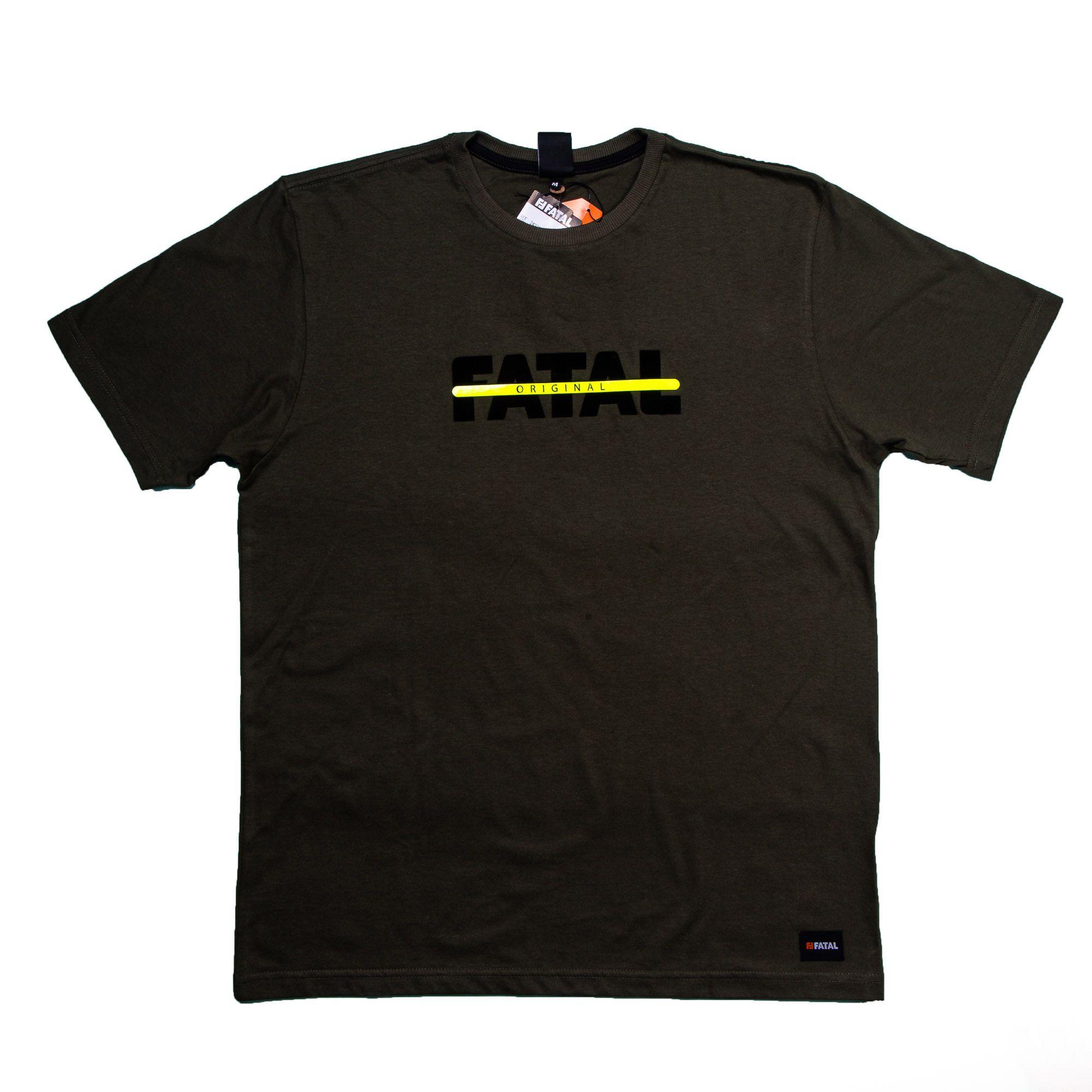 Camiseta Masculina Verde Escuro Detalhe Neon - Fatal