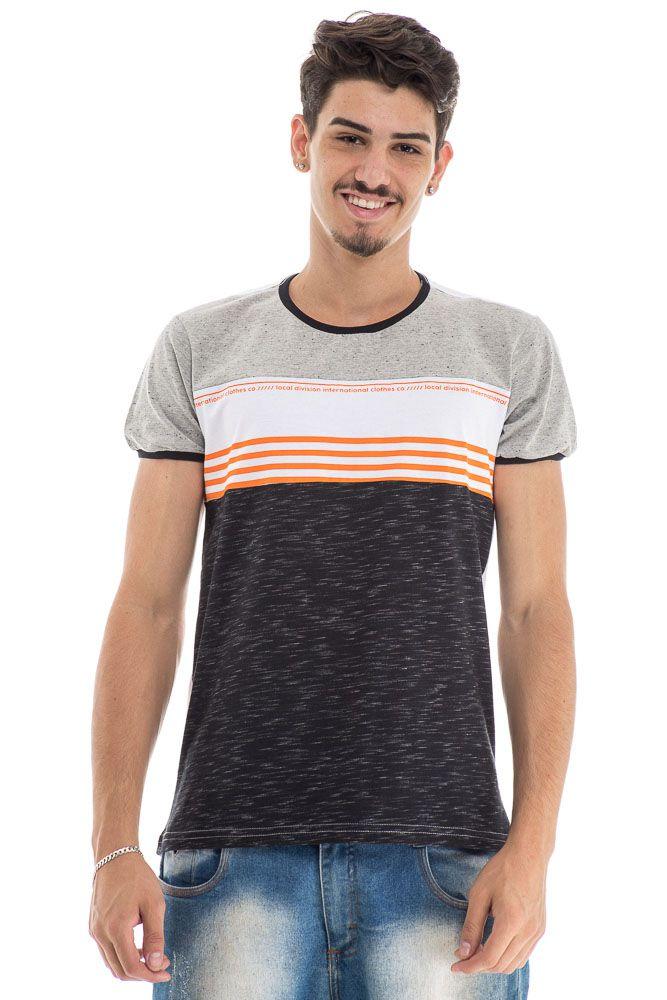 Camiseta ombro mescla faixa laranja frete preta