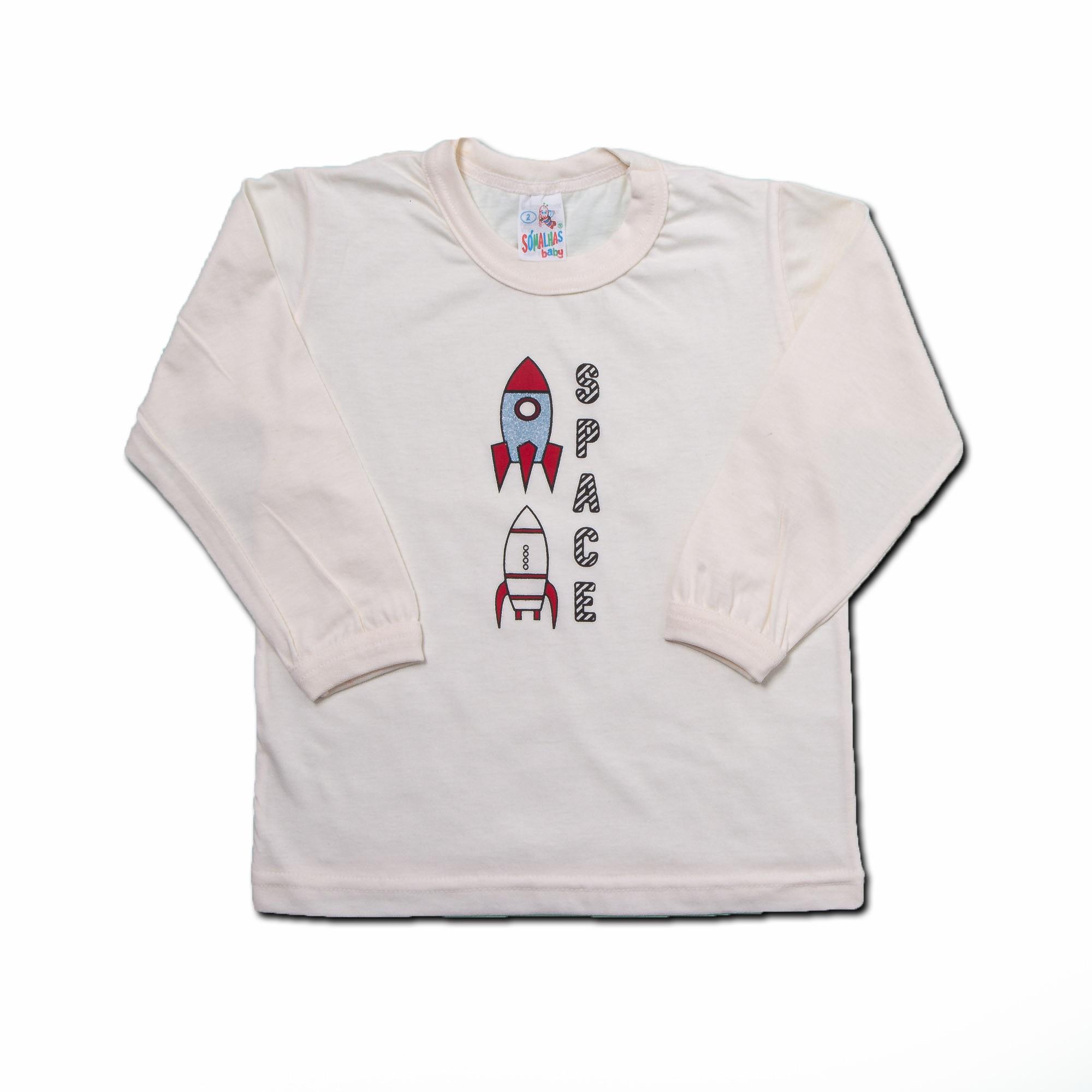 Camiseta Para Bebê Manga Longa Estampado Só Malhas