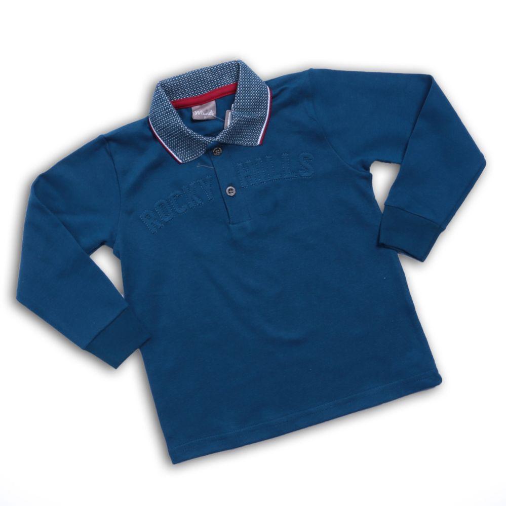 Camiseta Polo Manga Longa Azul - Mundi
