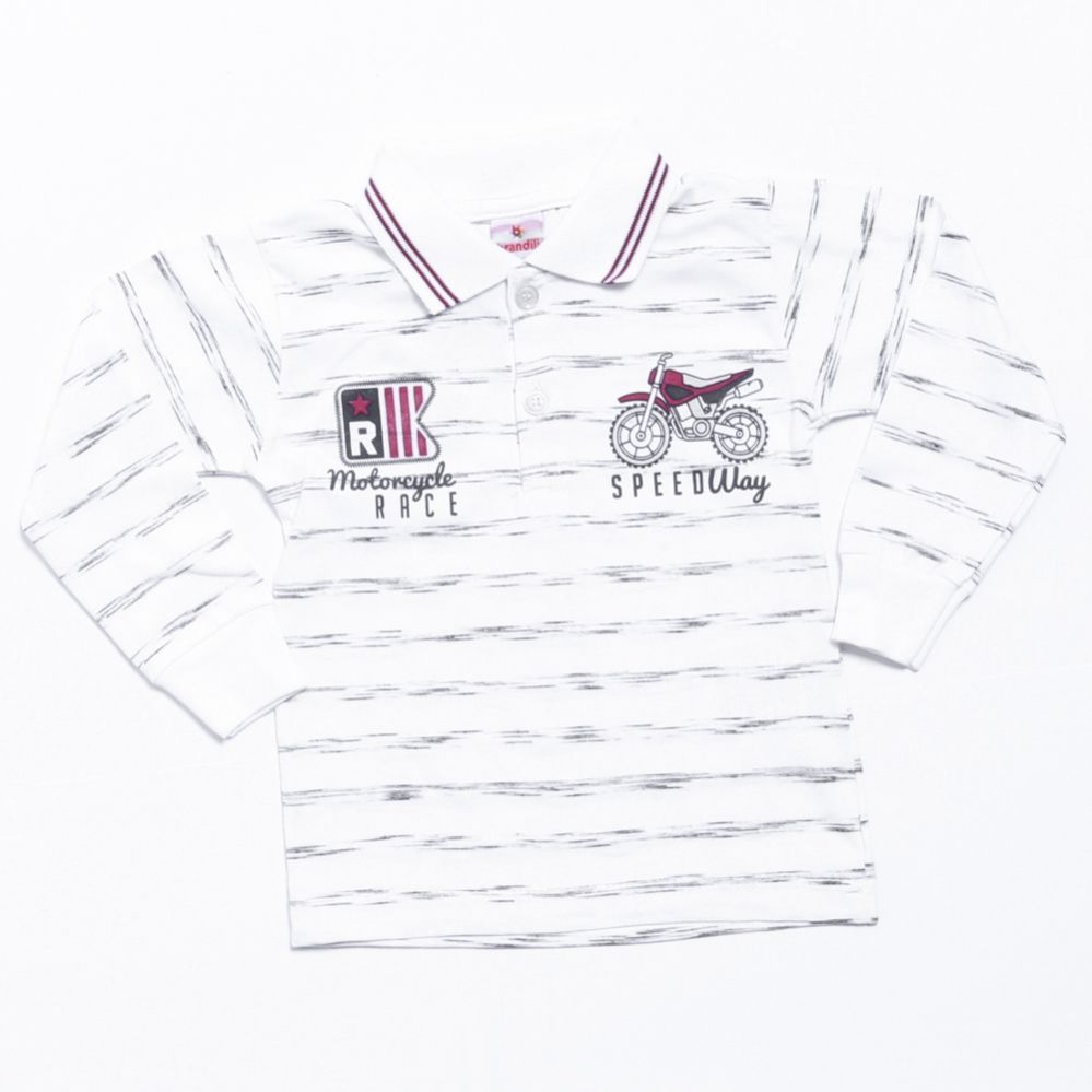 Camiseta Polo Manga Longa Infantil Branca - Brandili