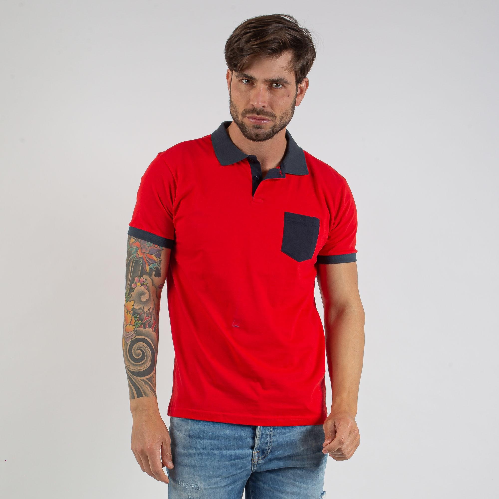 Camiseta Polo Masculina Algodão Vermelho Com Bolso