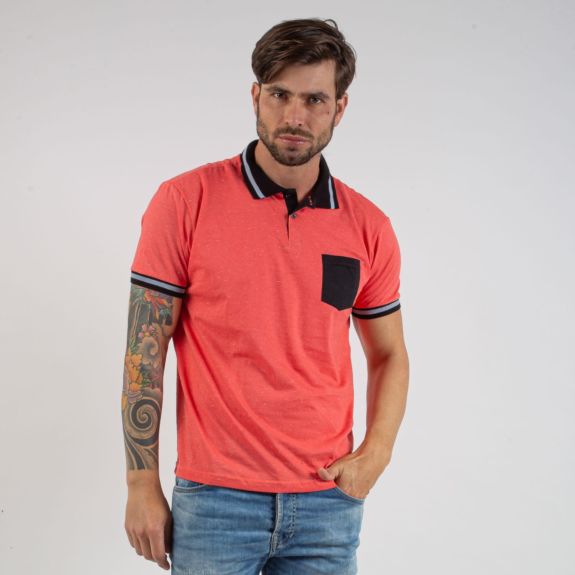 Camiseta Polo Masculina Laranja Com Gola Preta Listrada Algodão