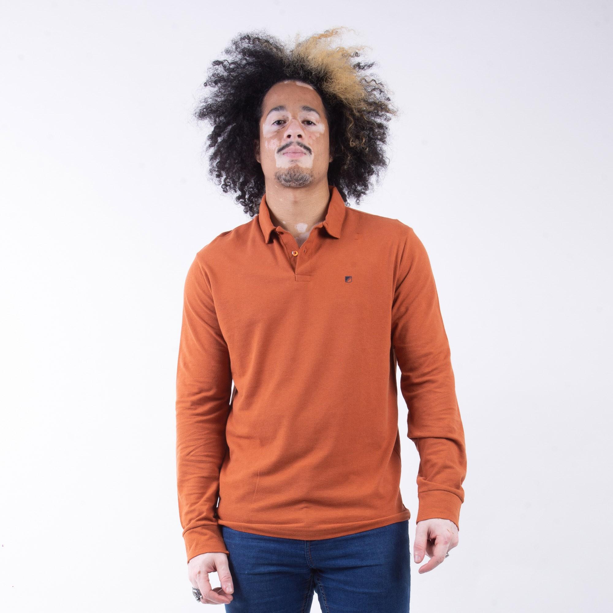 Camiseta Polo Masculina Manga Longa