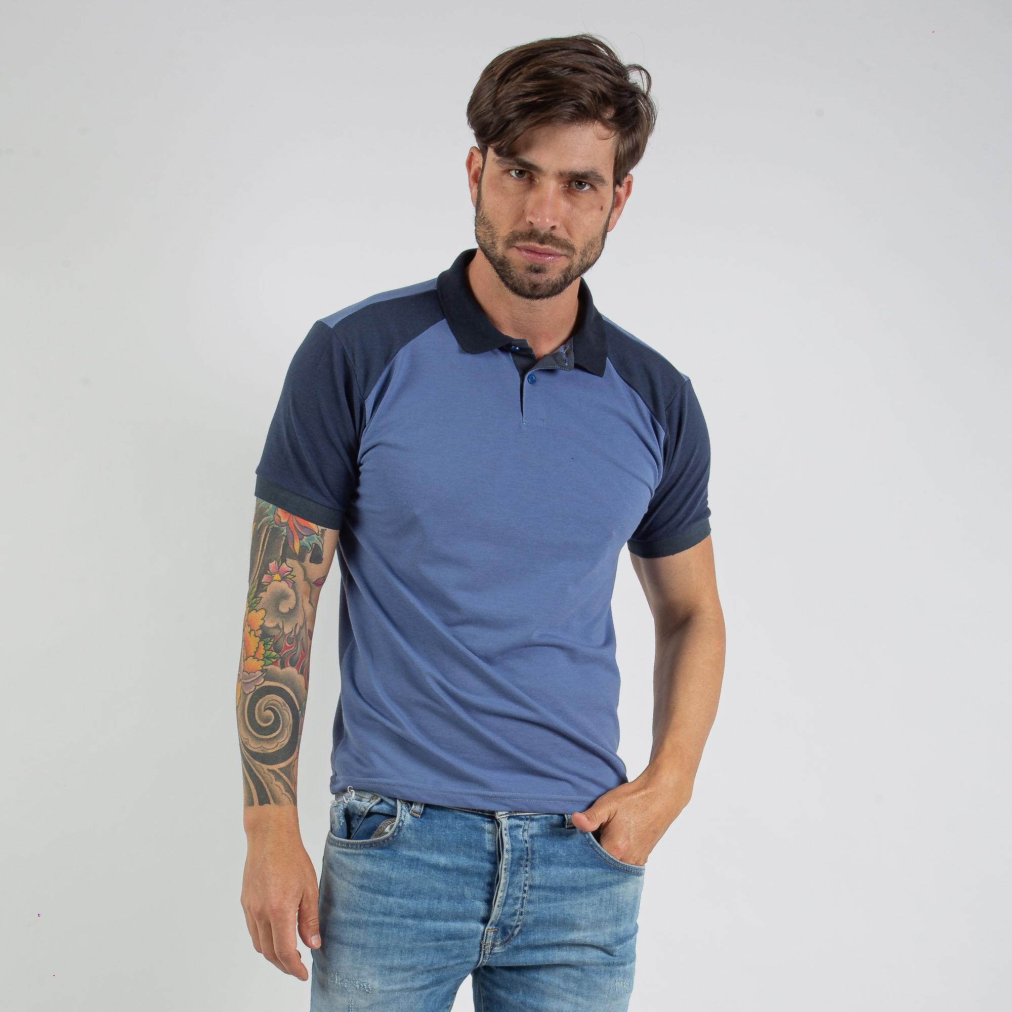 Camiseta Polo Masculina Piquet Duas Cores