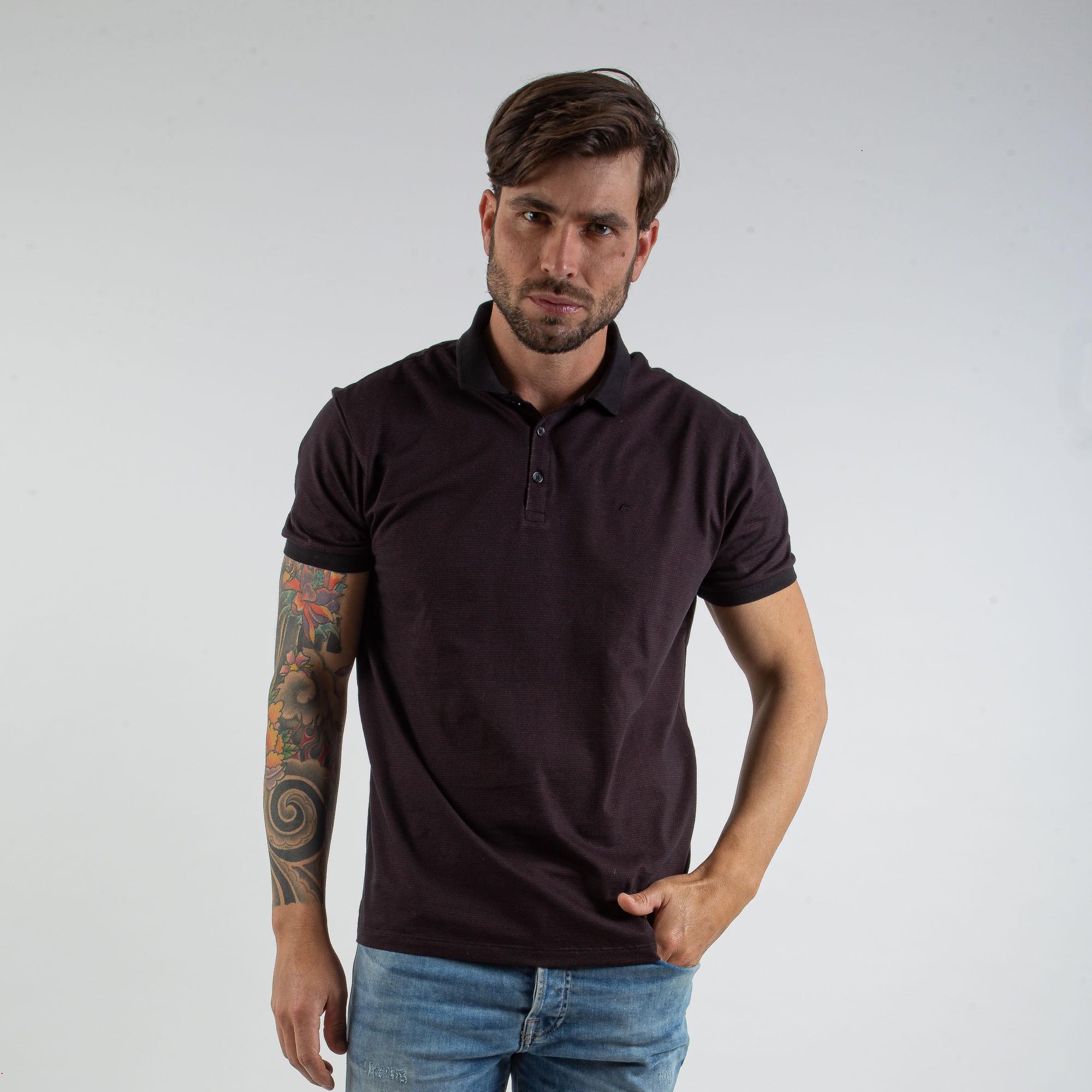 Camiseta Polo Masculina Cotton Preta Com Detalhes Vinho - Ellus