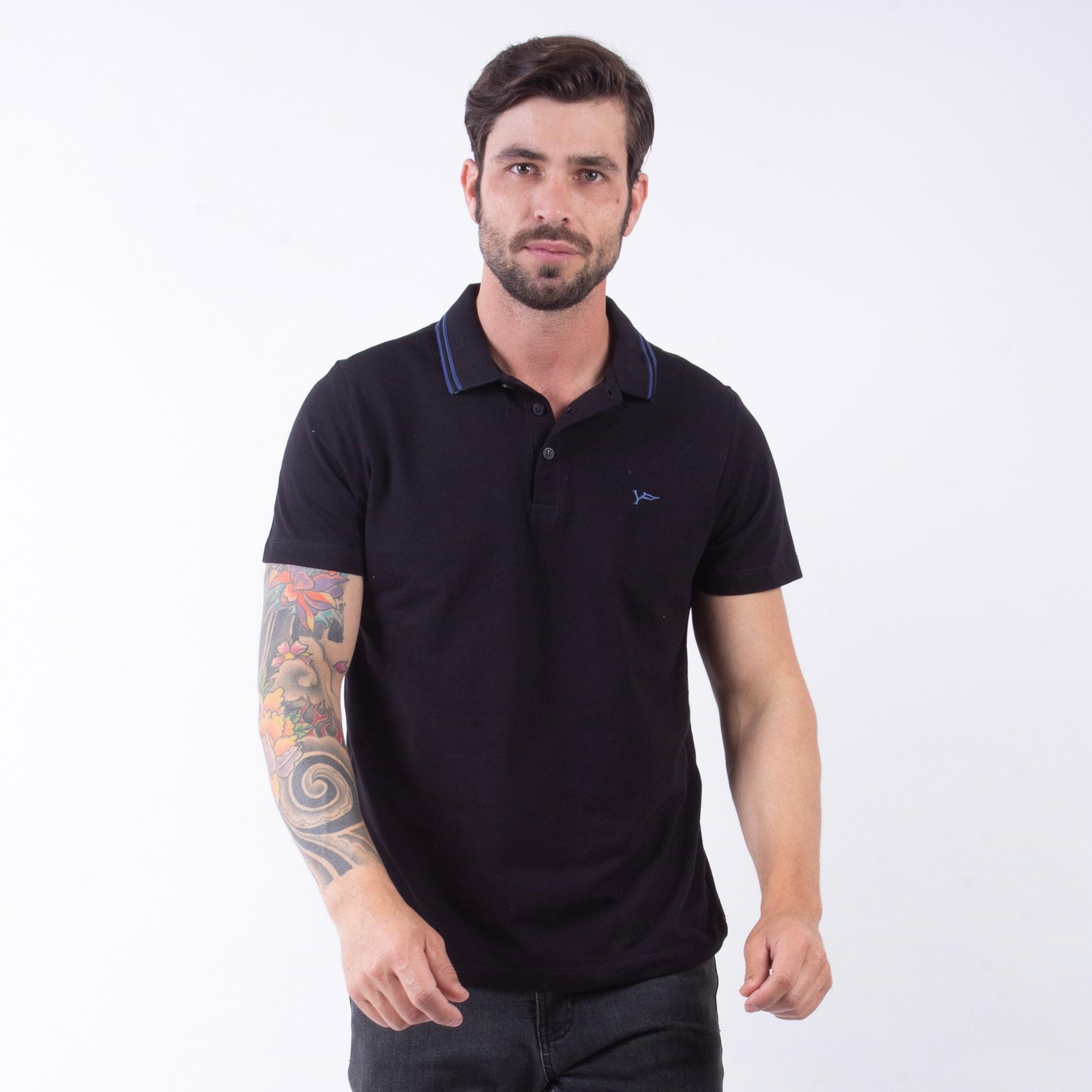 Camiseta Polo Masculina Preto