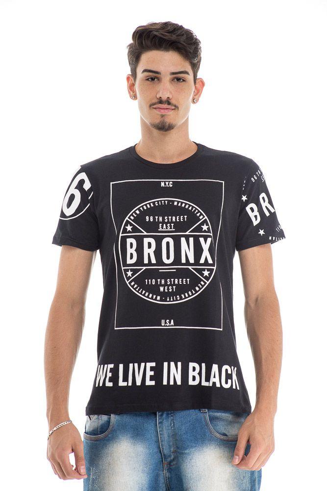 camiseta  preta estampada BRONX
