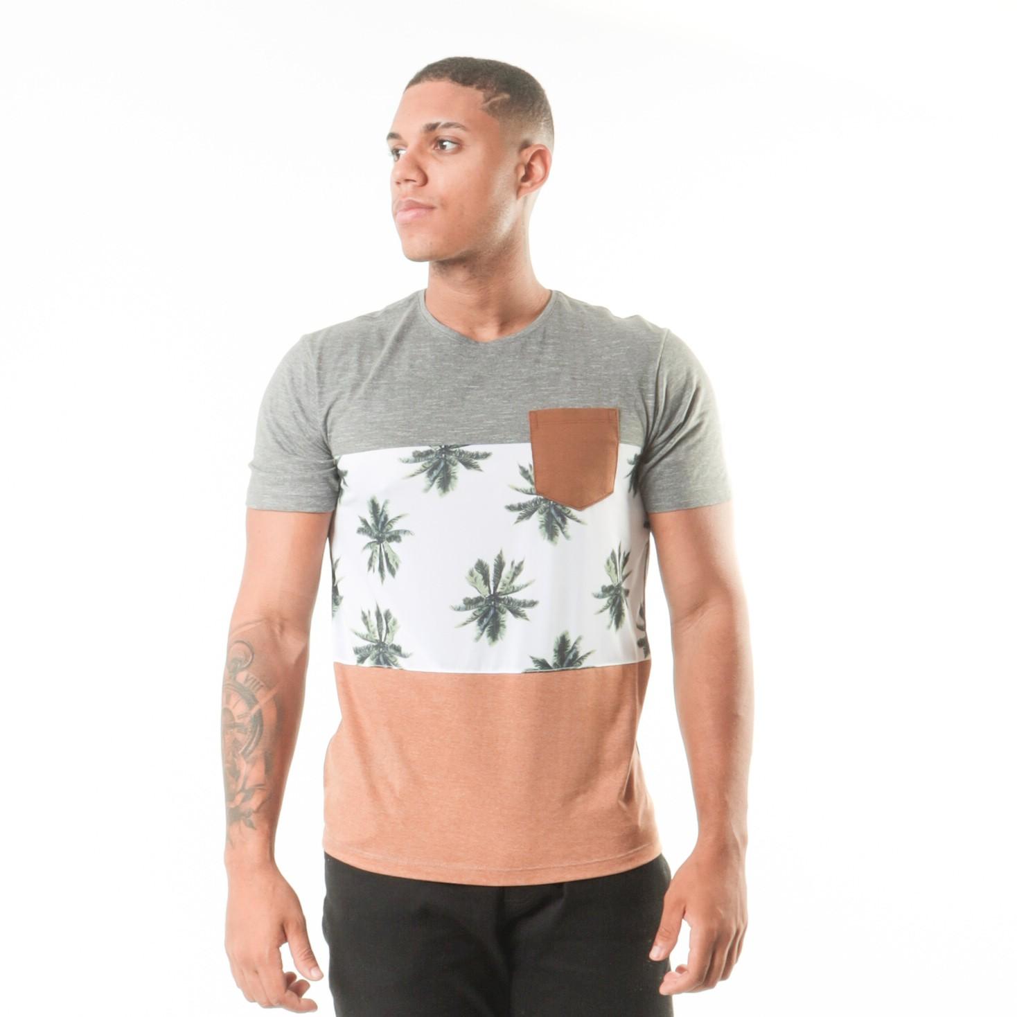 Camiseta Recorte Coqueiro Com Bolso