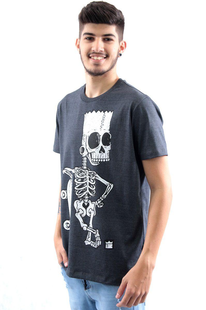 ... Camiseta Manga Curta Estampa Bart Simpson Caveira Skate Arquitetura da Moda  Masculino ... 0cdf43c0ae0