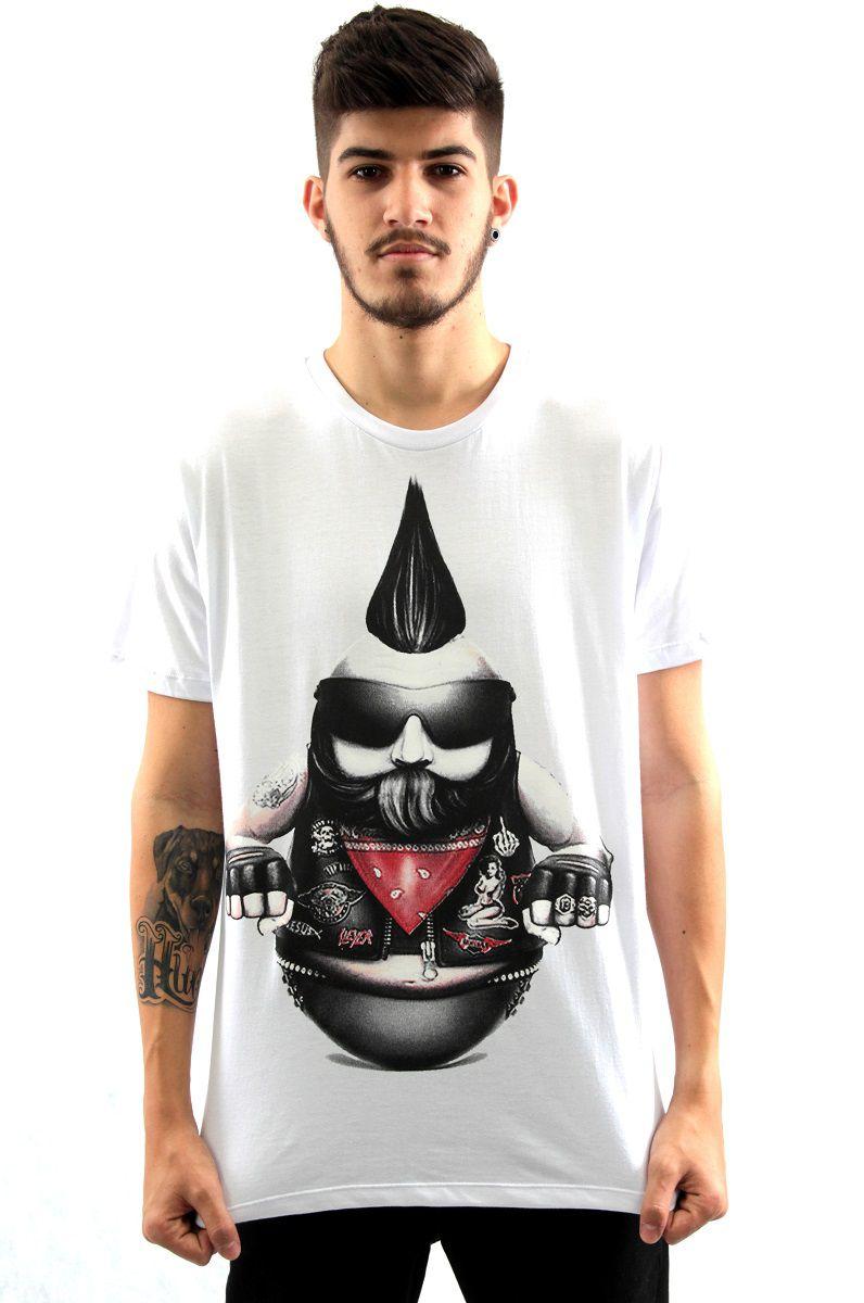 741aa0bc7 Camiseta Manga Curta Estampa Motoqueiro Branco Arquitetura da Moda Masculino