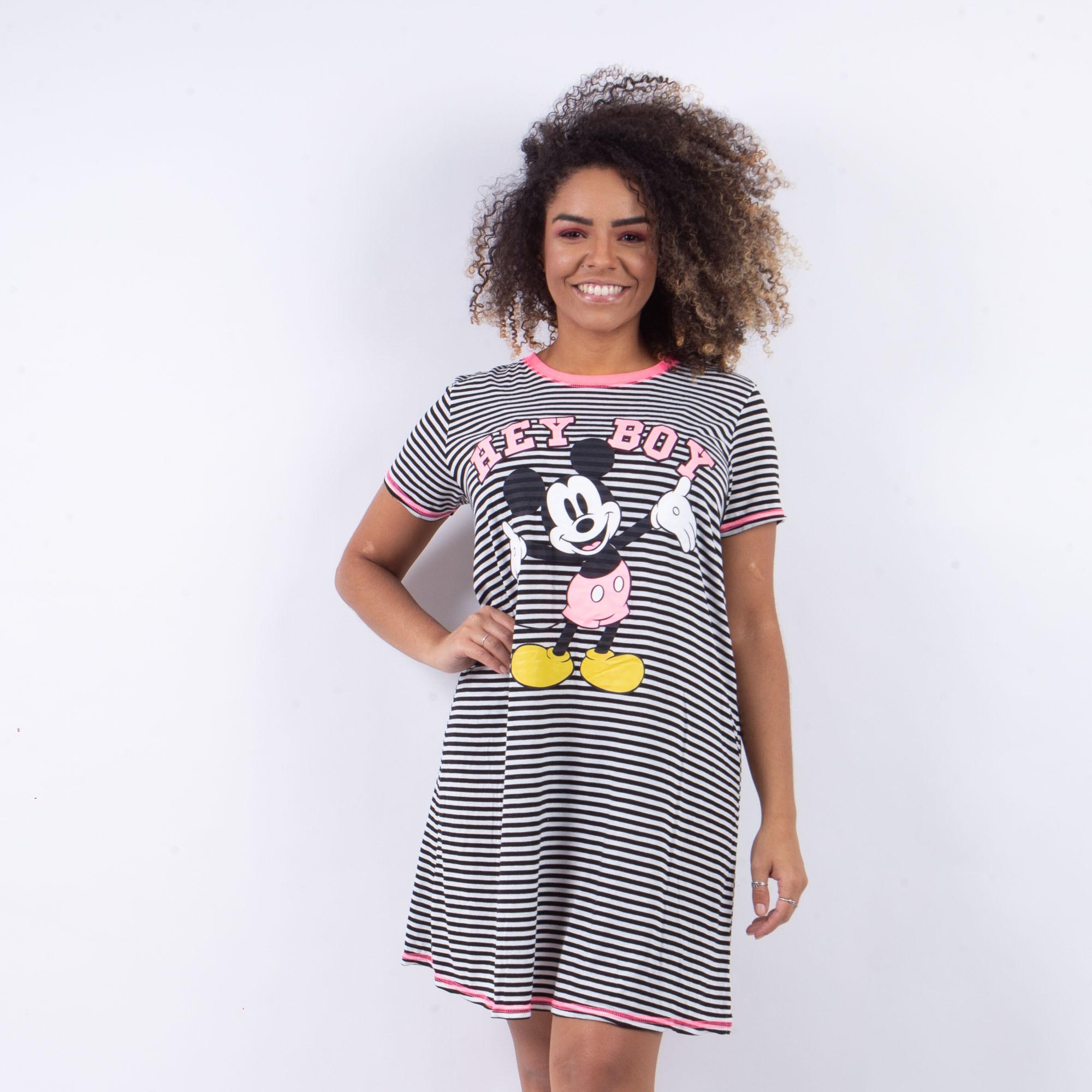 Camisola Manga Curta Feminina Preto E Rosa Listrado Estampa Mickey