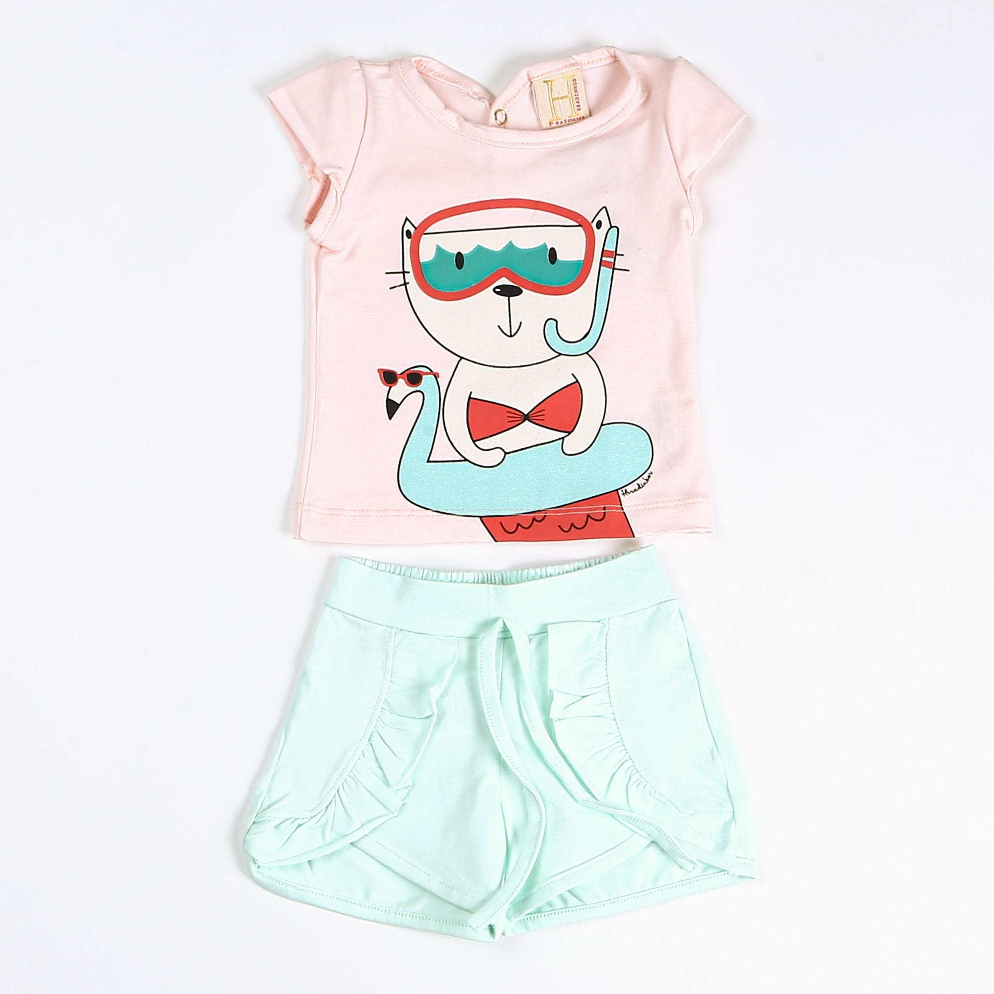 Conjunto Bebê Para Menina De Cotton