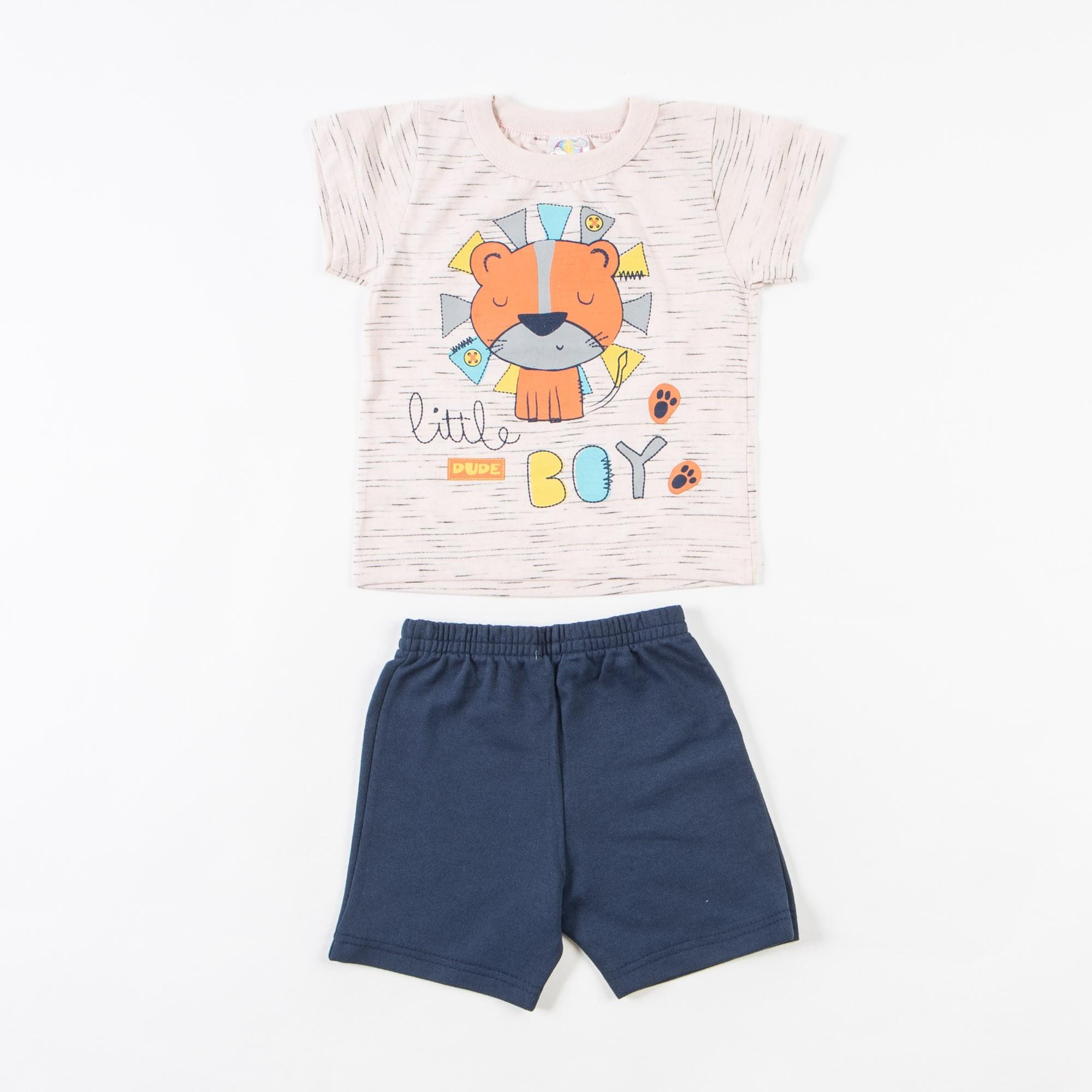Conjunto Bermuda Moletom  E Camiseta - 1/3