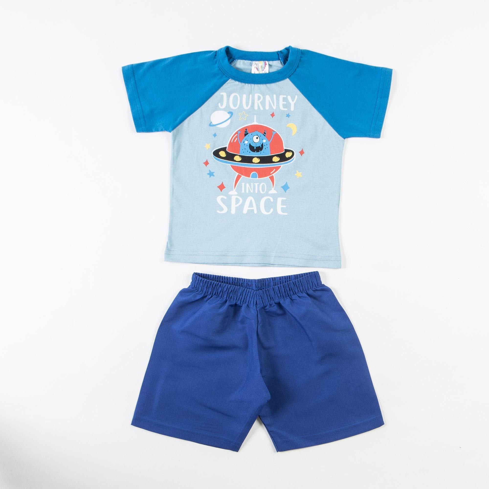 Conjunto Camiseta Infantil E Bermuda Tactel - 1/3