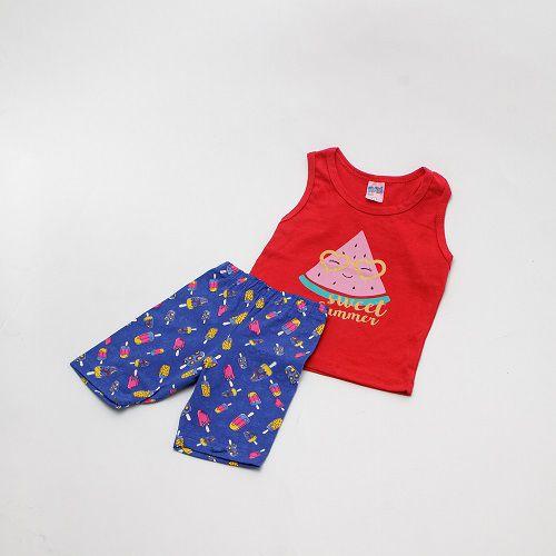 Conjunto De Menina Estampado Regata Vermelho E Azul Mimos Baby