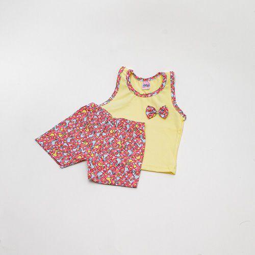 Conjunto De Menina Regata E Gola Estampada Mimos Baby