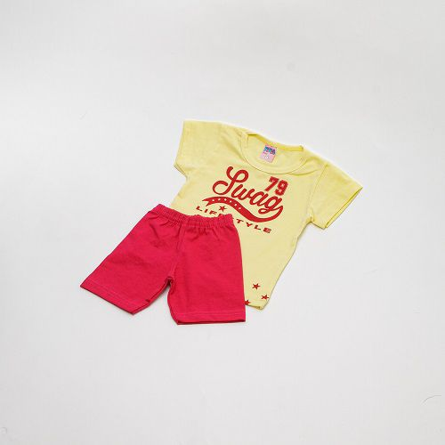 Conjunto De Menino Estampado Amarelo E Vermelho Mimos Baby