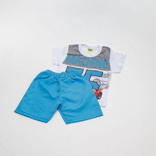 Conjunto De Menino Estampado Carrinho Branco E Azul Mimos Baby