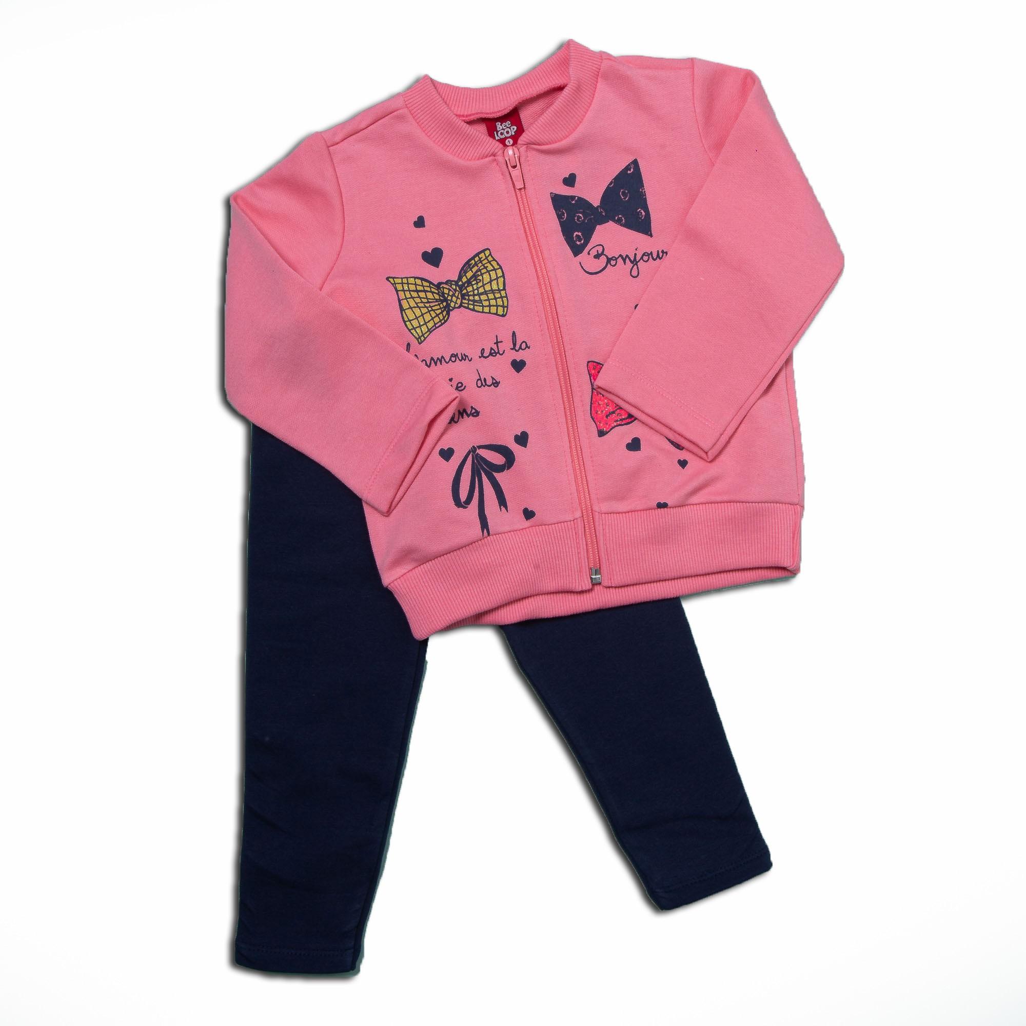 Conjunto De Moletom Com Zíper Rosa Estampado Lacinho Menina Bee Loop
