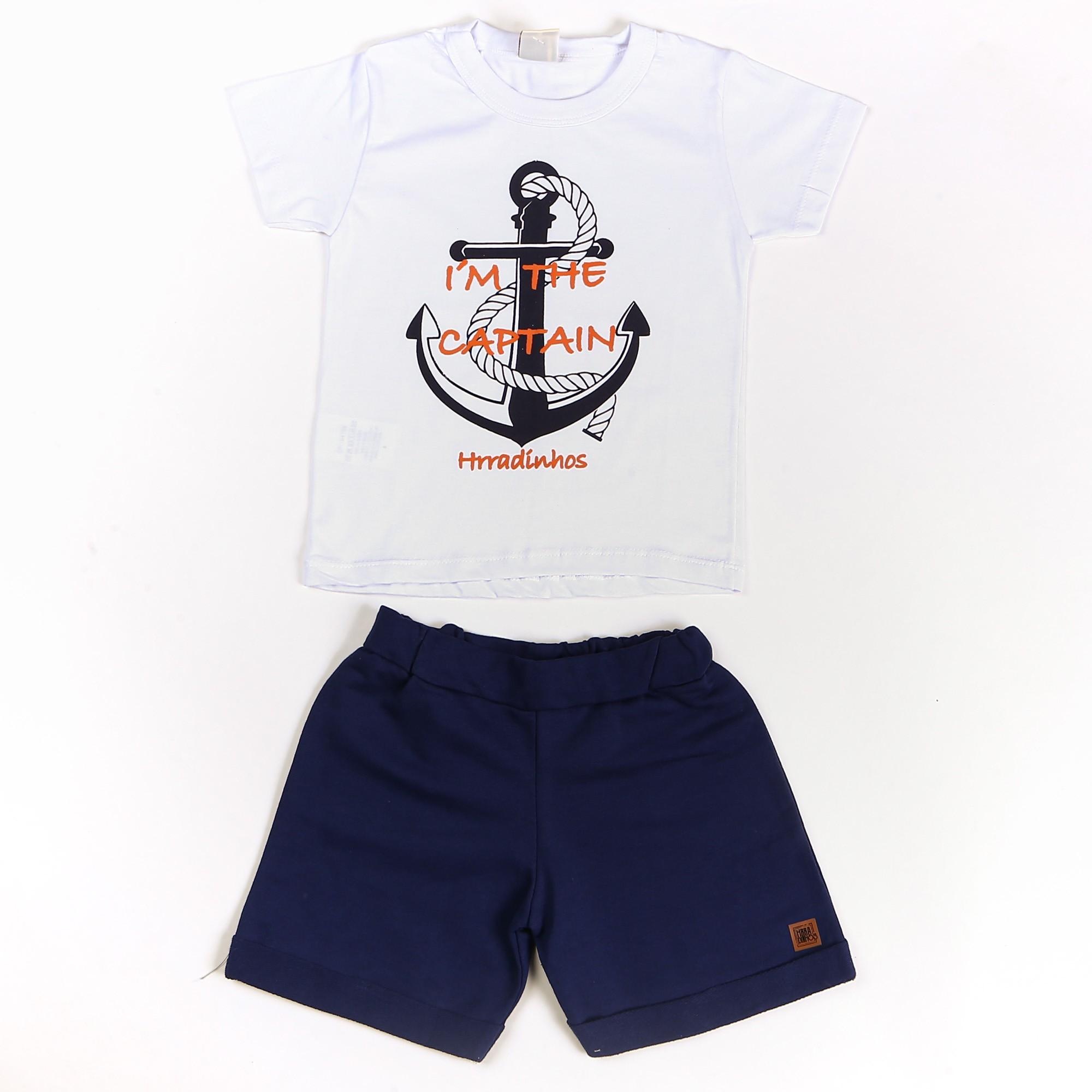 Conjunto Infantil Bermuda Moletom Camiseta Marinheiro