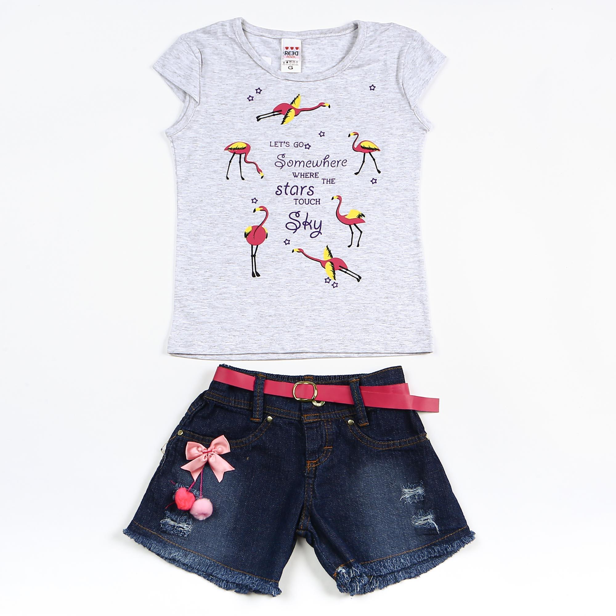 Conjunto Infantil com Short Jeans