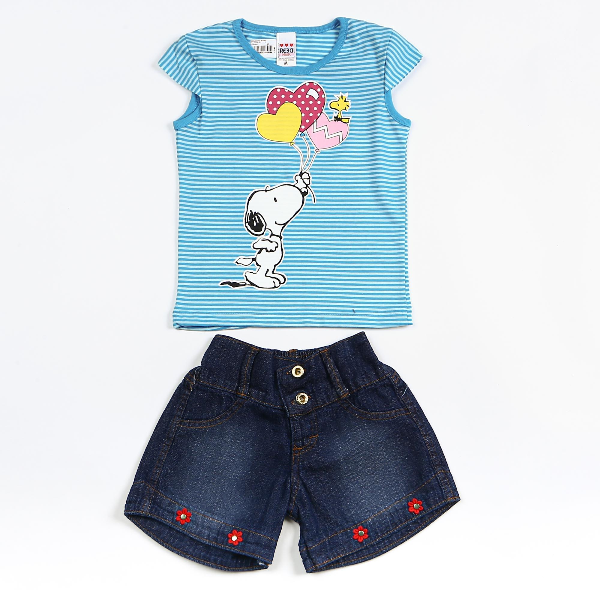 Conjunto Infantil Com Short Jeans Blusinha Listrada Snoopy
