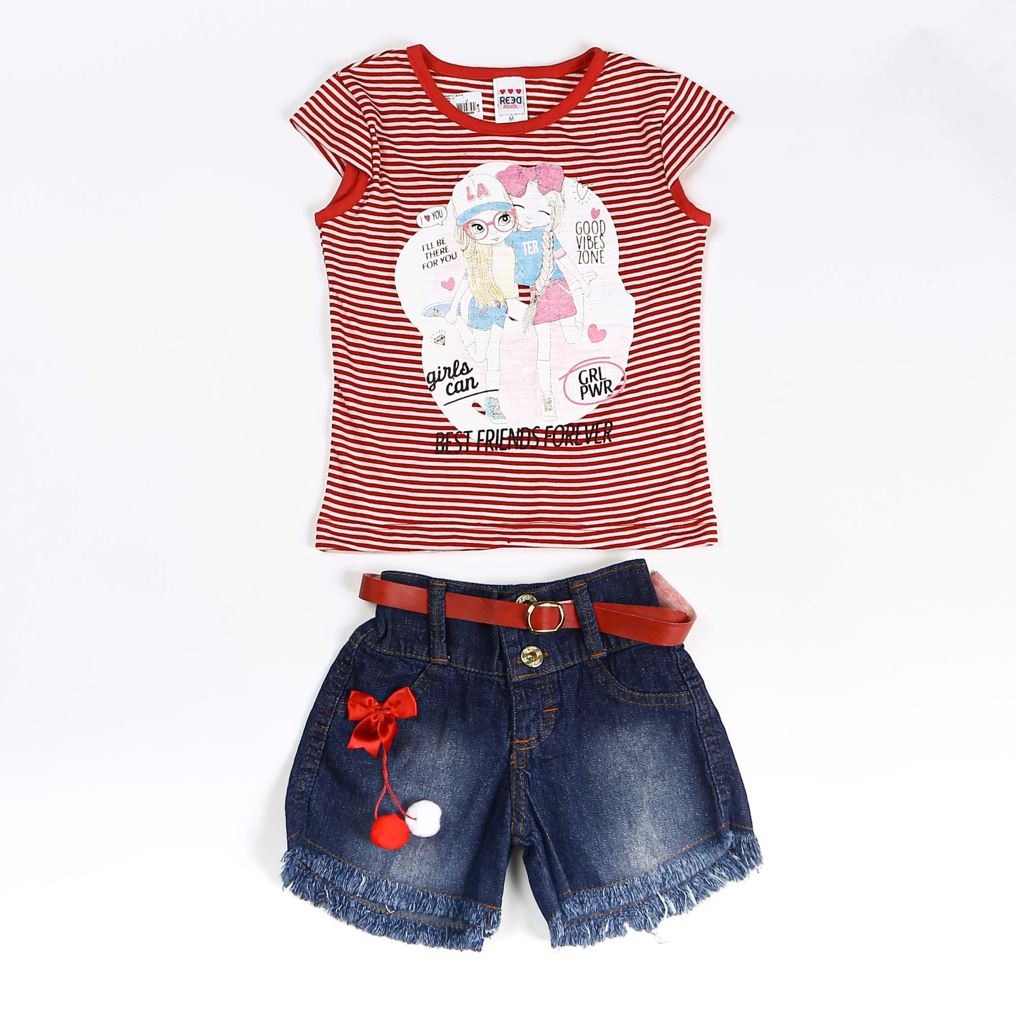 Conjunto Infantil Com Short Jeans e Blusinha