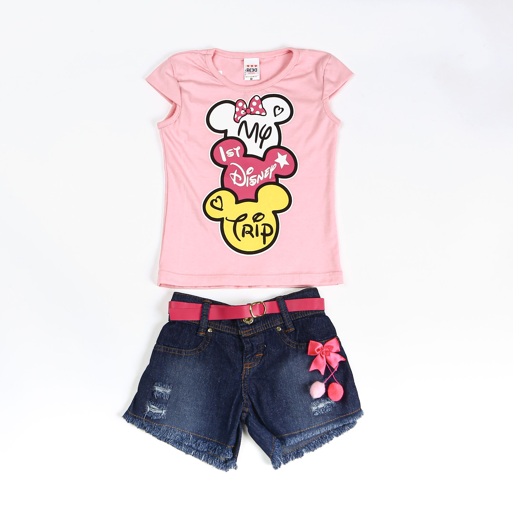 Conjunto Infantil Jeans Com Cinto Minnie